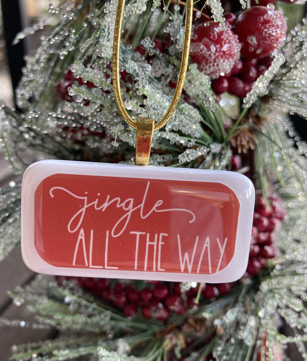 Jingle All the Way Domino Christmas Ornament (Red)
