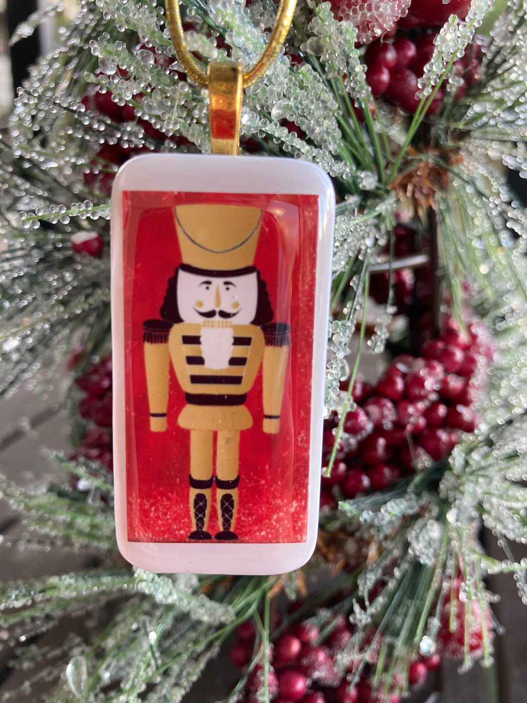 Gold Nutcracker Domino Christmas Ornament