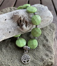 Load image into Gallery viewer, Green Magnesite & Silver Tree of Life Stretch Bracelet