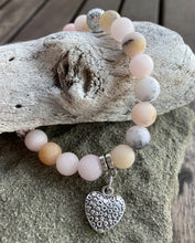 Load image into Gallery viewer, Cherry Blossom Jasper and Silver Lava Rock Heart Stretch Bracelet