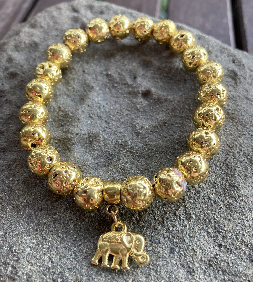 Gold Plated Lava Rock Elephant Stretch Bracelet