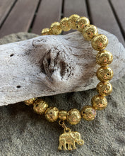 Load image into Gallery viewer, Gold Plated Lava Rock Elephant Stretch Bracelet