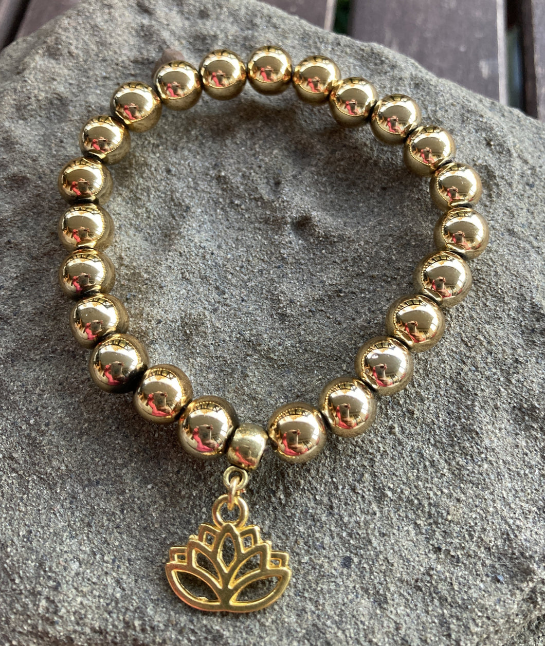 Gold Electroplated Hematite Lotus Flower Stretch Bracelet