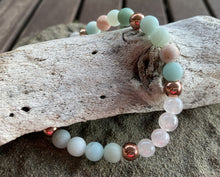Load image into Gallery viewer, Amazonite & Rose Quartz (6mm) Stretch Bracelet