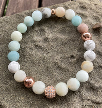 Load image into Gallery viewer, Amazonite & Rose Gold Pave Stretch Bracelet