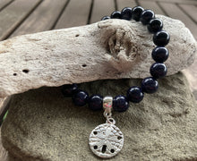 Load image into Gallery viewer, Blue Goldstone Sand Dollar Stretch Bracelet