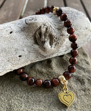 Load image into Gallery viewer, Tiger Eye Heart Stretch Bracelet