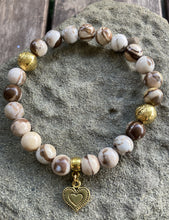 Load image into Gallery viewer, Brown Zebra Jasper & Gold Heart Stretch Bracelet