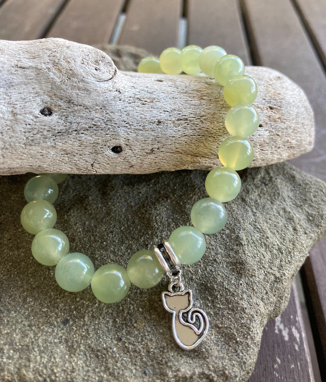 Mystic Jade Cat Stretch Bracelet
