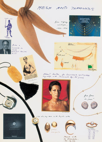 Collage showing Elsa Peretti's design inspiration for her 1970s 'Mesh' and 'Diamonds' collections for Tiffany