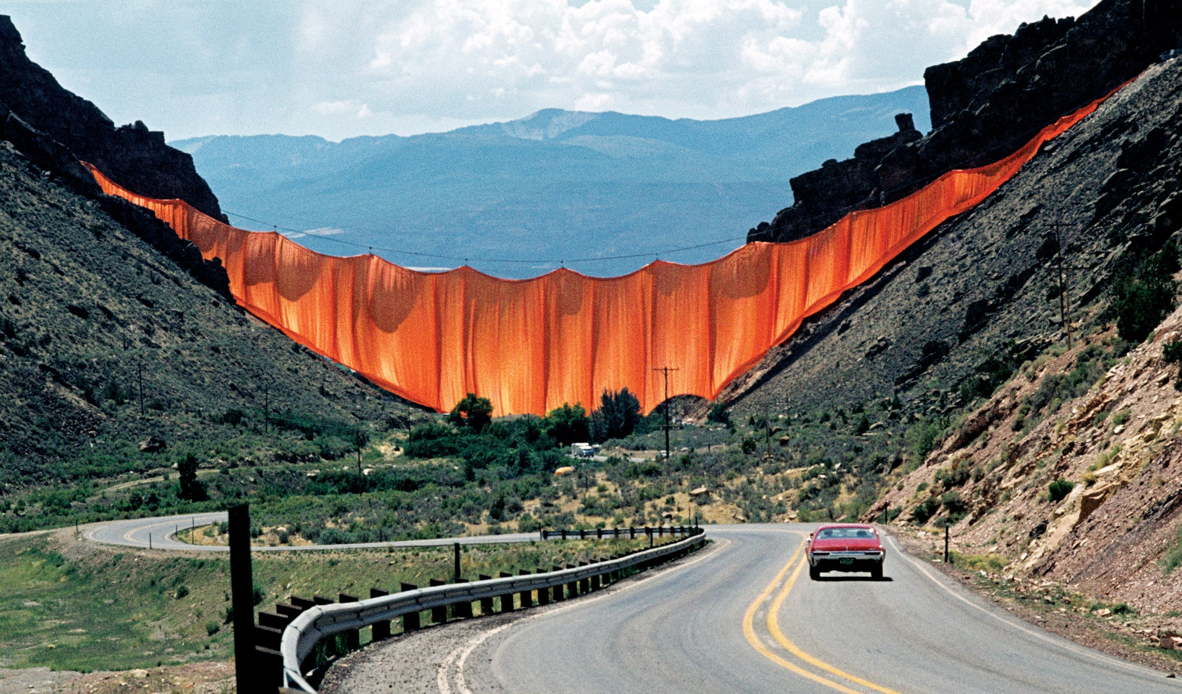 Valley Curtain by Christo and Jeanne Claude, Rifle, Colorado, 1972