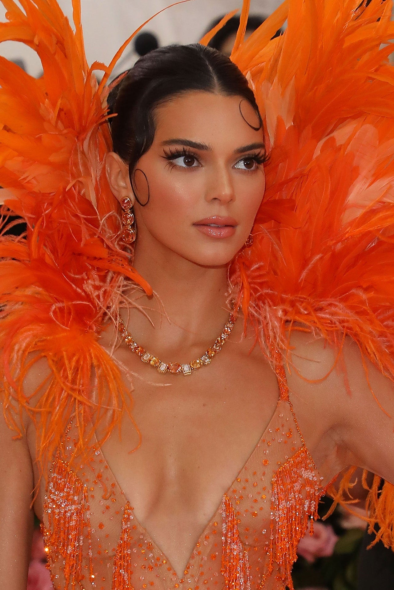 Kendal Jenner, Tiffany imperial topaz and diamond necklace and earrings from the 2019 Blue Book Collection, Met Gala, 2019