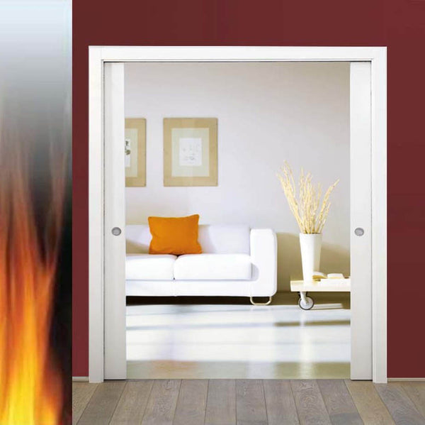 Eclisse Classic Fire Rated Double Pocket Door System - 838+838x1981mm - 120mm Wall Thickness