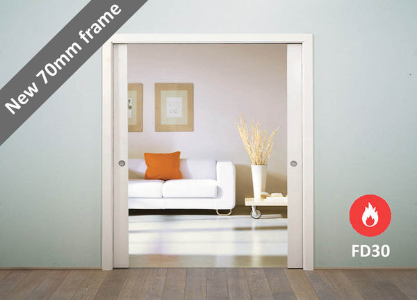 Eclisse Classic Fire Rated Double Pocket Door System - 926+926x2040mm - 120mm Wall Thickness