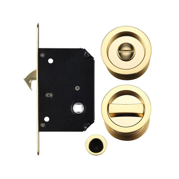 Sliding door bathroom lock with hook bolt and flush bathroom turn and release
