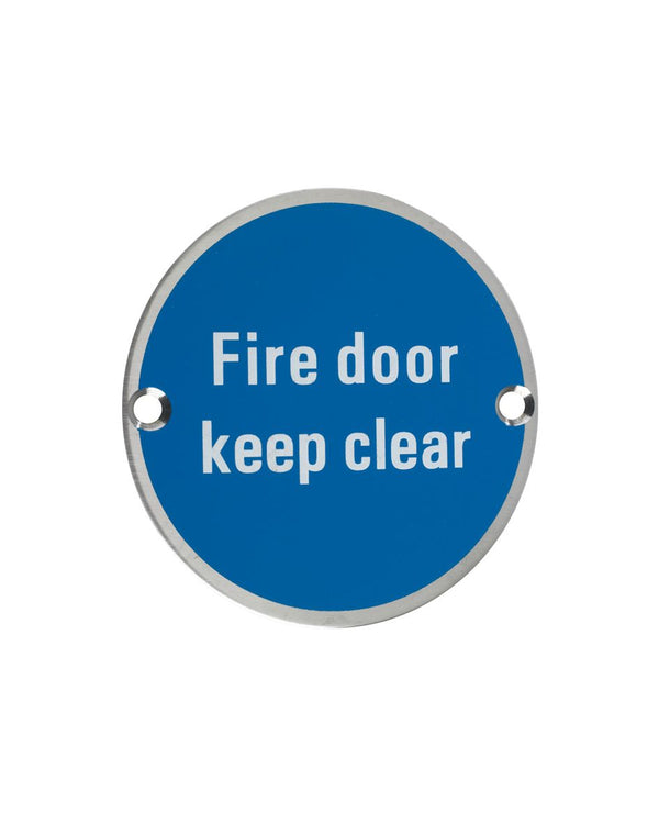 75mm Dia 'Fire Door Keep Clear' sign