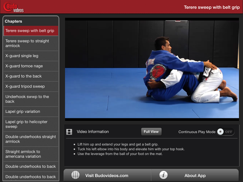 Cobrinha BJJ Vol 2 - Butterfly Guard - ipad landscape menu image