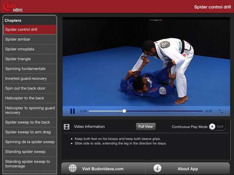 Cobrinha BJJ Vol 4 - Spider Guard - ipad landscape menu image