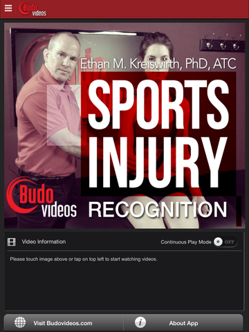 Sports Injury Recognition by Ethan M. Kreiswirth, PhD, ATC - ipad main title screen image