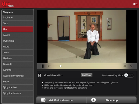 Complete Introduction to Muso Shinden Ryu Iaido with Didier Boyet - ipad landscape menu image