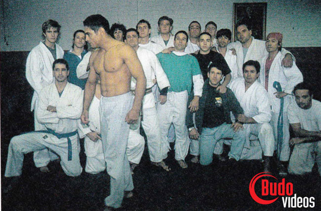 group photo with Rickson Gracie after victory