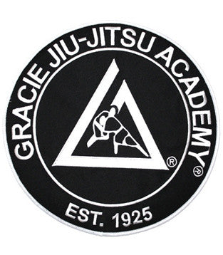 Official Gracie Jiu-jitsu Academy Large Embroidered Patch- BLACK - Budovideos