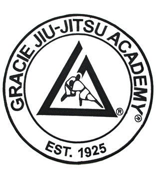 Official Gracie Jiu-jitsu Academy Large 9 Inch Embroidered Patch - WHITE - Budovideos