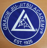Official Gracie Jiu-jitsu Academy Large 9 Inch Embroidered Patch - BLUE - Budovideos Inc