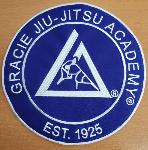 Official Gracie Jiu-jitsu Academy Large Embroidered Patch- BLUE - Budovideos