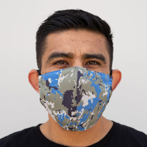 Defender PRO Antibacterial Mask (Pacific Camo) includes 3 N95 Filters - Made in USA - Budovideos