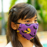 Defender PRO Antibacterial Mask (Halloween Bats and moon) includes 3 N95 Filters - Made in USA - Budovideos