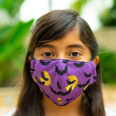 Defender PRO Antibacterial Mask (Bats and moon) includes 3 N95 Filters - Made in USA