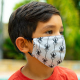 Defender PRO Antibacterial Mask (Halloween Spiders) includes 3 N95 Filters - Made in USA - Budovideos