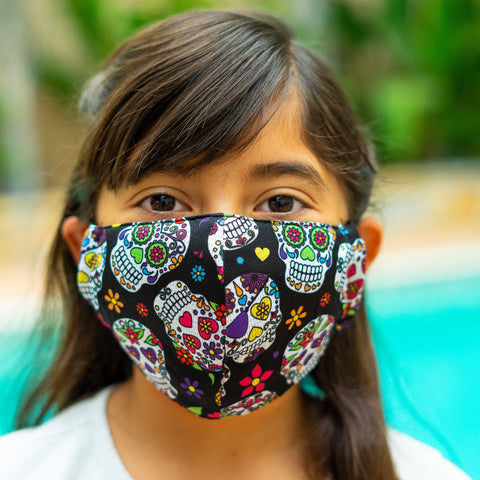 Defender PRO Antibacterial Mask (Day of the Dead) includes 3 N95 Filters - Made in USA