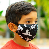 Defender PRO Antibacterial Mask (Halloween Ghosts) includes 3 N95 Filters - Made in USA - Budovideos