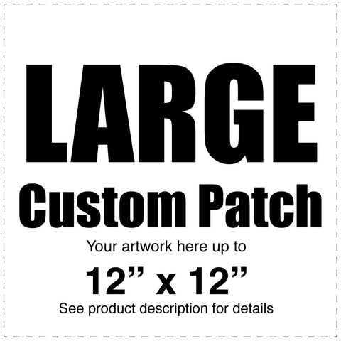 "Custom Full Color Canvas Patch – White – Large - 12"" x 12"" - Budovideos"