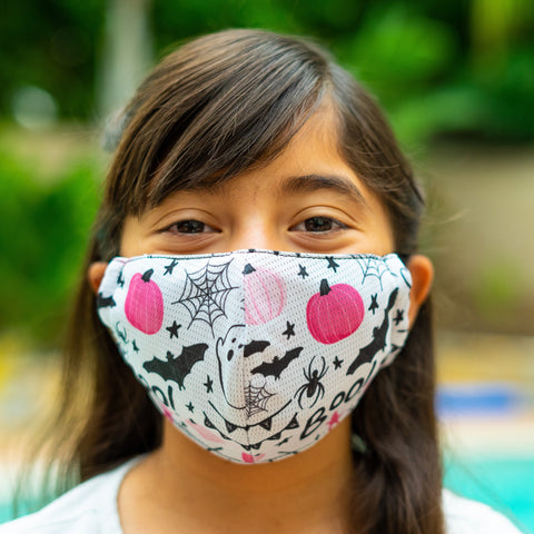 Defender PRO Antibacterial Mask (Halloween Pink Pumpkins) includes 3 N95 Filters - Made in USA - Budovideos