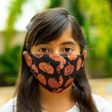 Defender PRO Antibacterial Mask (Halloween Pumpkins) includes 3 N95 Filters - Made in USA - Budovideos