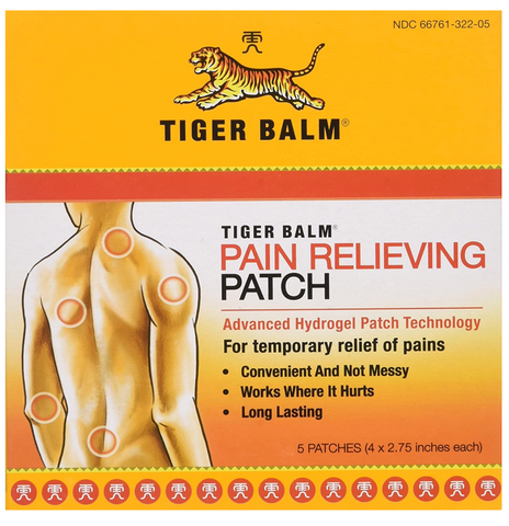 "Tiger Balm Pain Relieving Small Patch 4""x2.75"", 5-Count Package - Budovideos"