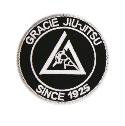 Official Gracie Jiu-jitsu Academy Small 3 Inch Embroidered Patch - BLACK - Budovideos