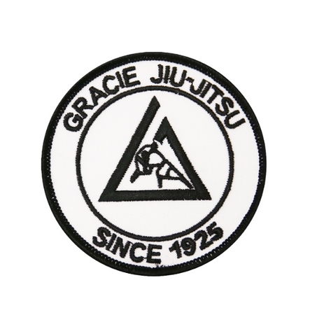 Official Gracie Jiu-jitsu Academy Small 3 Inch Embroidered Patch - WHITE - Budovideos