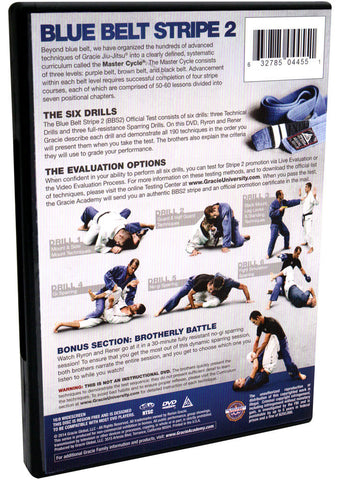 Back of DVD - Gracie Academy Master Cycle: Blue Belt Stripe 2 DVD Official Test