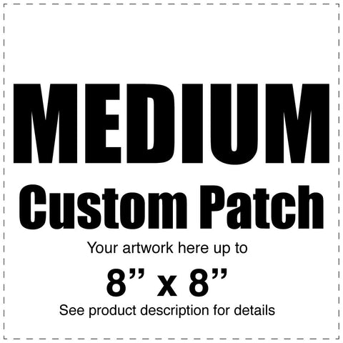 "Custom Full Color Canvas Patch – White – Medium 8"" x 8"" - Budovideos Inc"