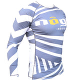 Exeter Long Sleeve Rank Rashguard White, Blue, Purple, Brown and Black