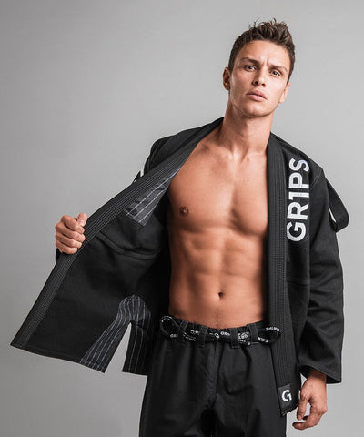 Primero Competition BJJ Kimono by Gr1ps   BLACK - Budovideos Inc