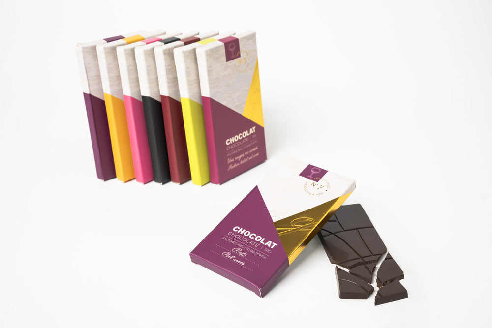 Coffret accords chocolats et vins (7 tablettes)