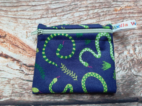Snakes Navy Green Pink - Pippins Poppins Pouch Snack Pouch, Coin Purse, Ear Bud Case