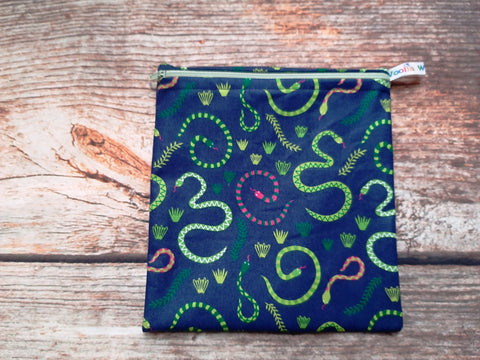 Snakes Navy Green Pink Medium Poppins Pouch Washable Sandwich Bag - Alt. to Wax Wrap