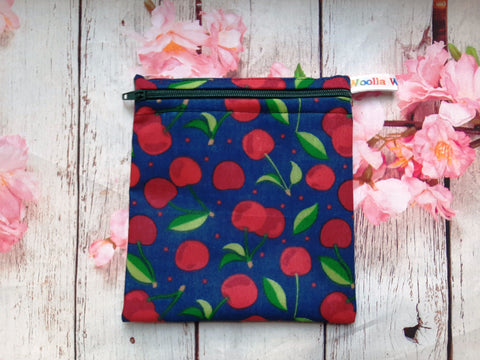 Cherries on Navy - Small Poppins Pouch Washable Snack Bag