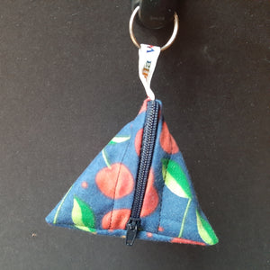 Cherries on Navy - Tri-Keyring Poppins Pouch